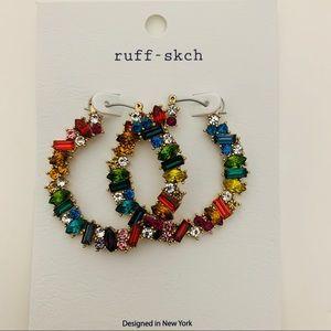 Crystal Jeweled Pincatch Hoop Earrings